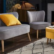 (R7K) 1 X Occasional Chair Grey. Velvet Fabric Cover. Rubberwood Legs. (H72xW60xD70cm) RRP £60