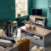 (R7E) 1 X Diva TV Unit (H47xW120XD44cm). Grey Finish With Oak Effect Top. Open Shelves And Compartm