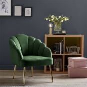 (R7O) 1 X Sofia Occasional Chair Emerald. Velvet Fabric Cover. Metal Legs. (H77xW64xD71cm) RRP £60