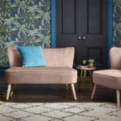 (R7P) 1 X Cocktail Sofa Dark Blush. Velvet Fabric Cover With Rubberwood Legs. (H72xW110xD70cm) RRP