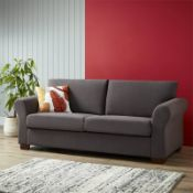 (R7P) 1 X Hayley Sofa Charcoal 3 Seater Sofa, Wooden Frame With Solid Beechwood Legs. 100% Polyest