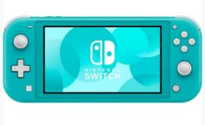 (R13B) 1 X Nintendo Switch Lite Turquoise With 2 X Official Nintendo Switch Power Cable & Plug. Fac