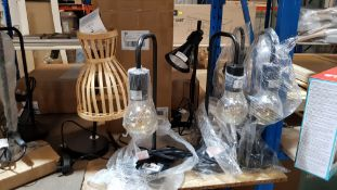 (R6F) Lighting. 7 Items. 4 X 330 Lumens Black Table Lamp (1 X Bulb Smashed) , 1 X Black Angled Tab