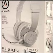 (R9C) Gaming. 5 X Power A Fusion Wired Headset (3 X White & 2 X Sapphire Blue)