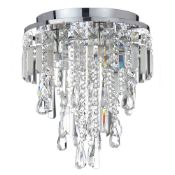 (R6D) Lighting. 1 X Marquis By Waterford Bresna 3 Light Medium Flush Chrome Finish (May Contain Un