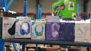 (R9A) Audio. 6 Items. 2 X Mixx OX1 On Ear Wired Headphones, 1 X JVC Powerful Sound HAS31MB Headpho