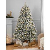 (R6C) Christmas. 6 Items. 1 X 7ft Snowy Tree Pre Lit (RRP £85), 1 X 6ft Snowy Tree Pre Lit (RRP £50