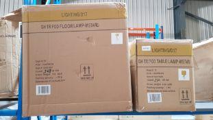 (R6C) Lighting. 2 Items. 1 X Tripod Floor Lamp Mustard & 1 X Tripod Table Lamp Mustard (May Contain