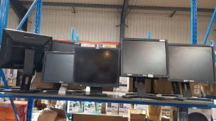 (R5E) Computing. 10 Items. 9 X Dell Monitor & 1 X IBM Monitor (No Cables)