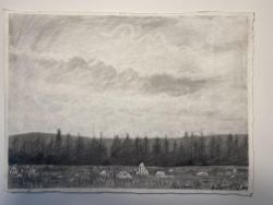 Dave Gunning Original Pencil On Paper, Hoarstones. Valued £1500-2000