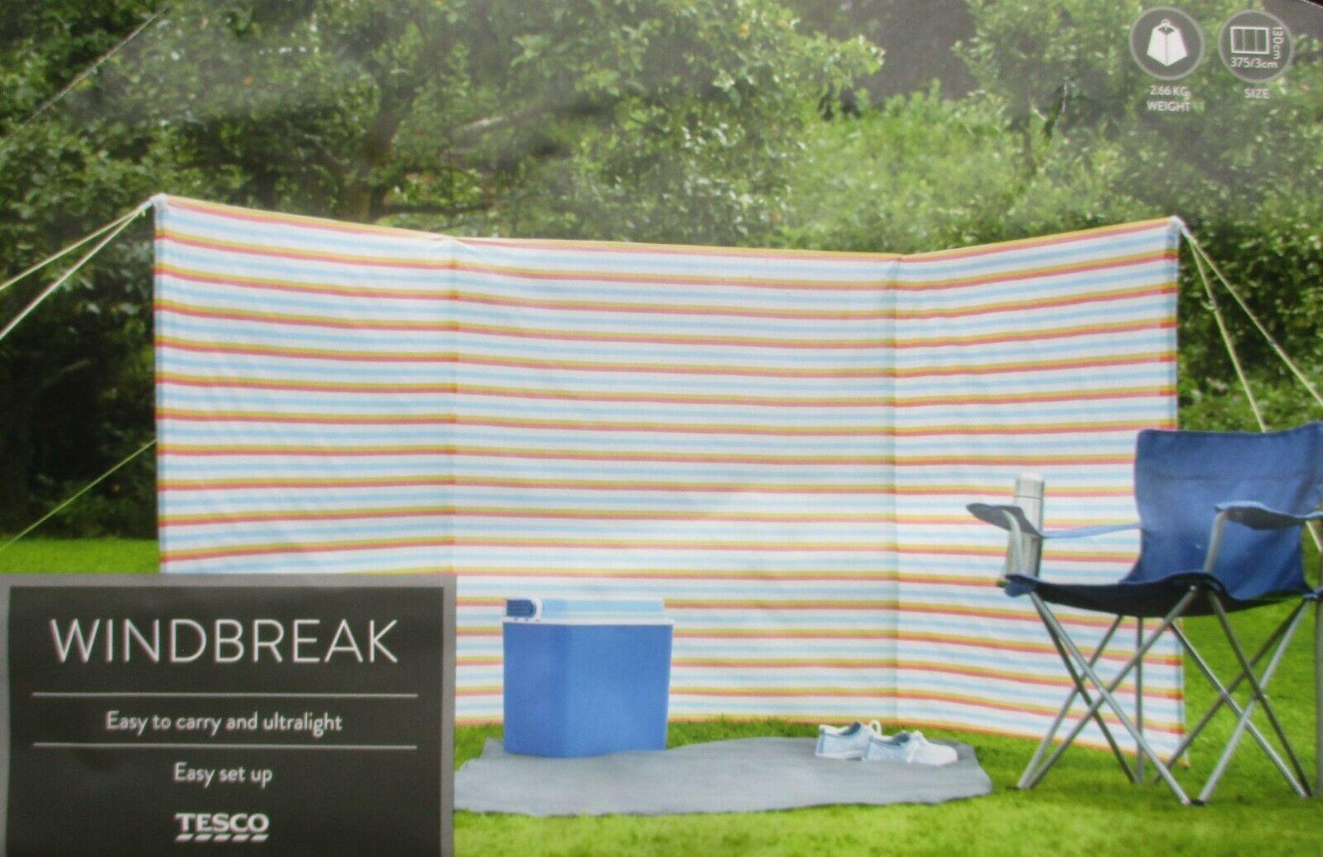 Brand New Tesco Windbreak 3.75M x 1.3M Lightweight Ideal For Camping & Caravanning Beach
