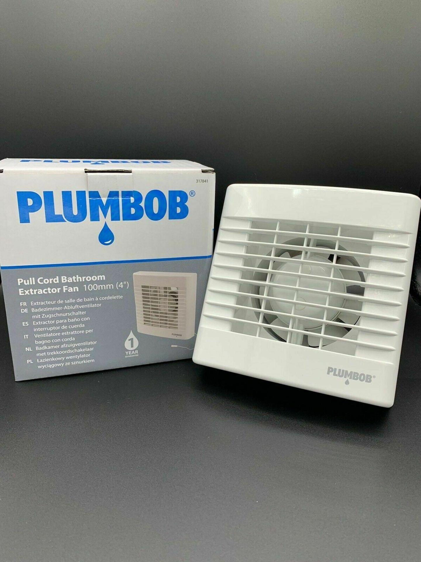 "Brand New Plumbob Pull Cord Bathroom Extractor Fans 100 mm (4"""")"