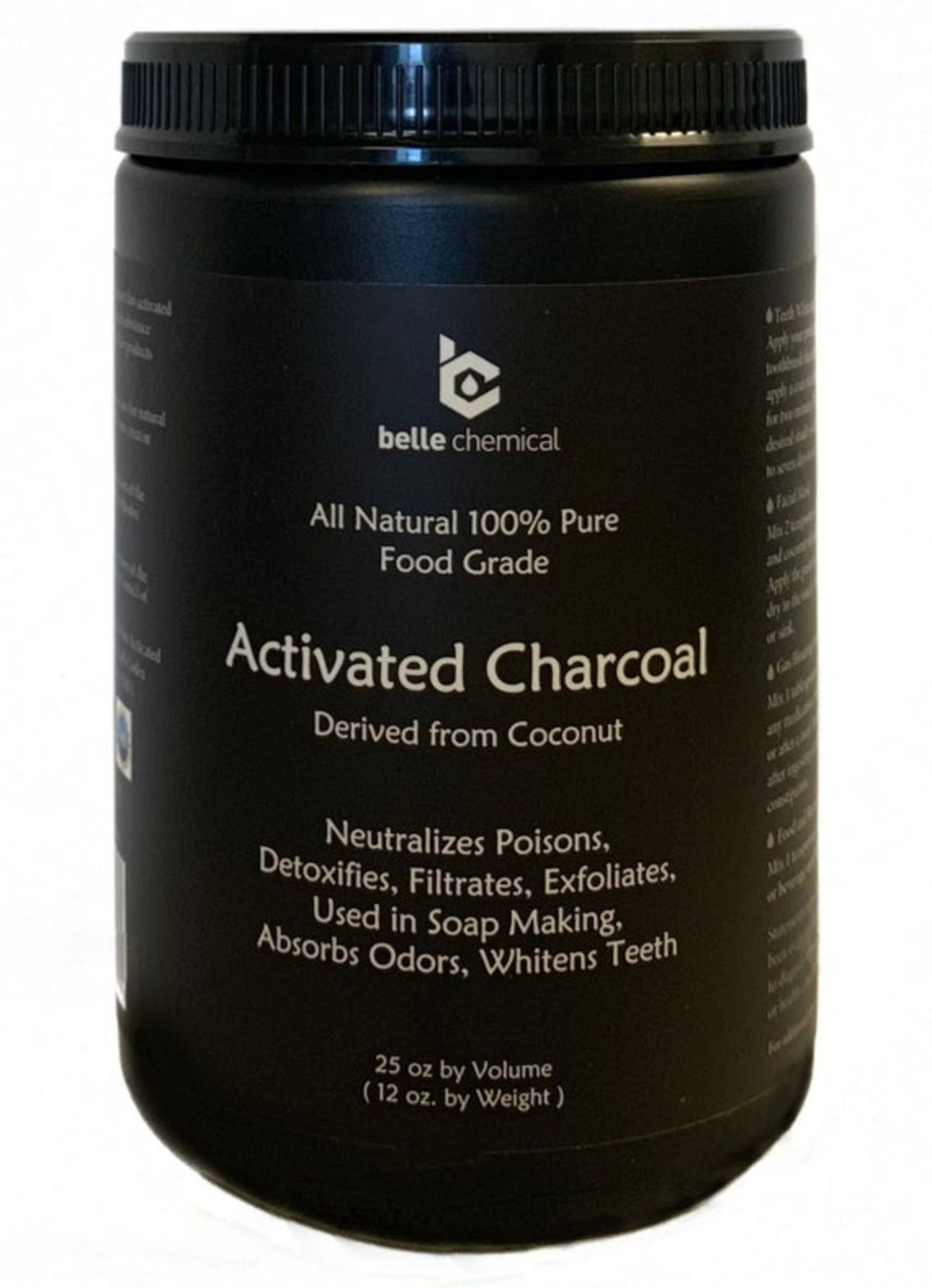 Belle Chemical Activated Charcoal Derived From Coconut (25Oz). For Teeth Whitening