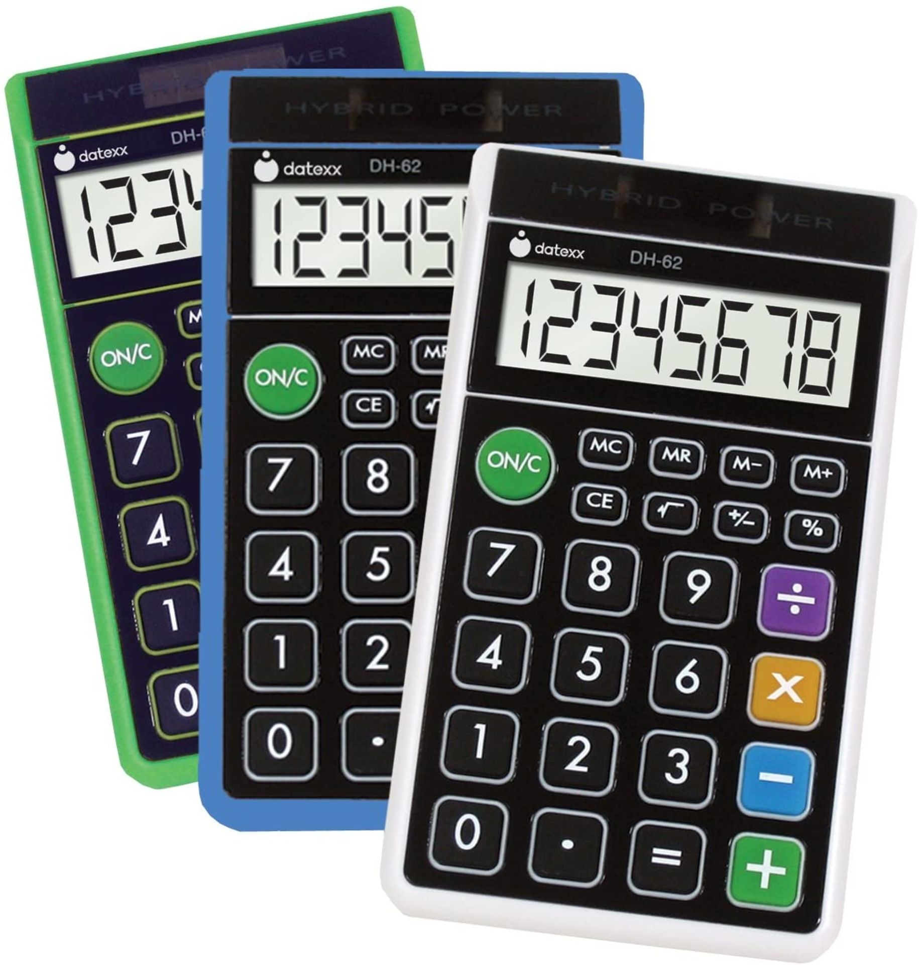 10 x Brand New Datexx Hybrid Power Dh-62 Calculators