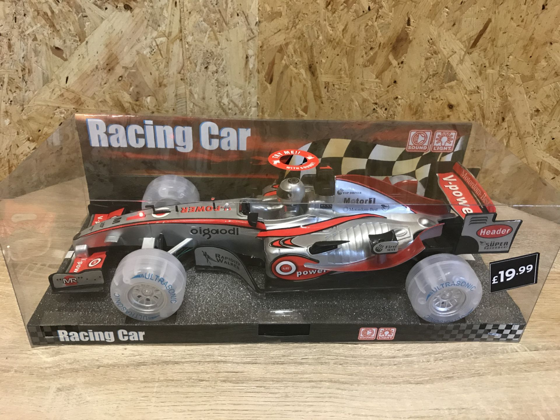 6 x Brand New Ultrasonic Sound And Light Up Racing Cars Rrp £19.99