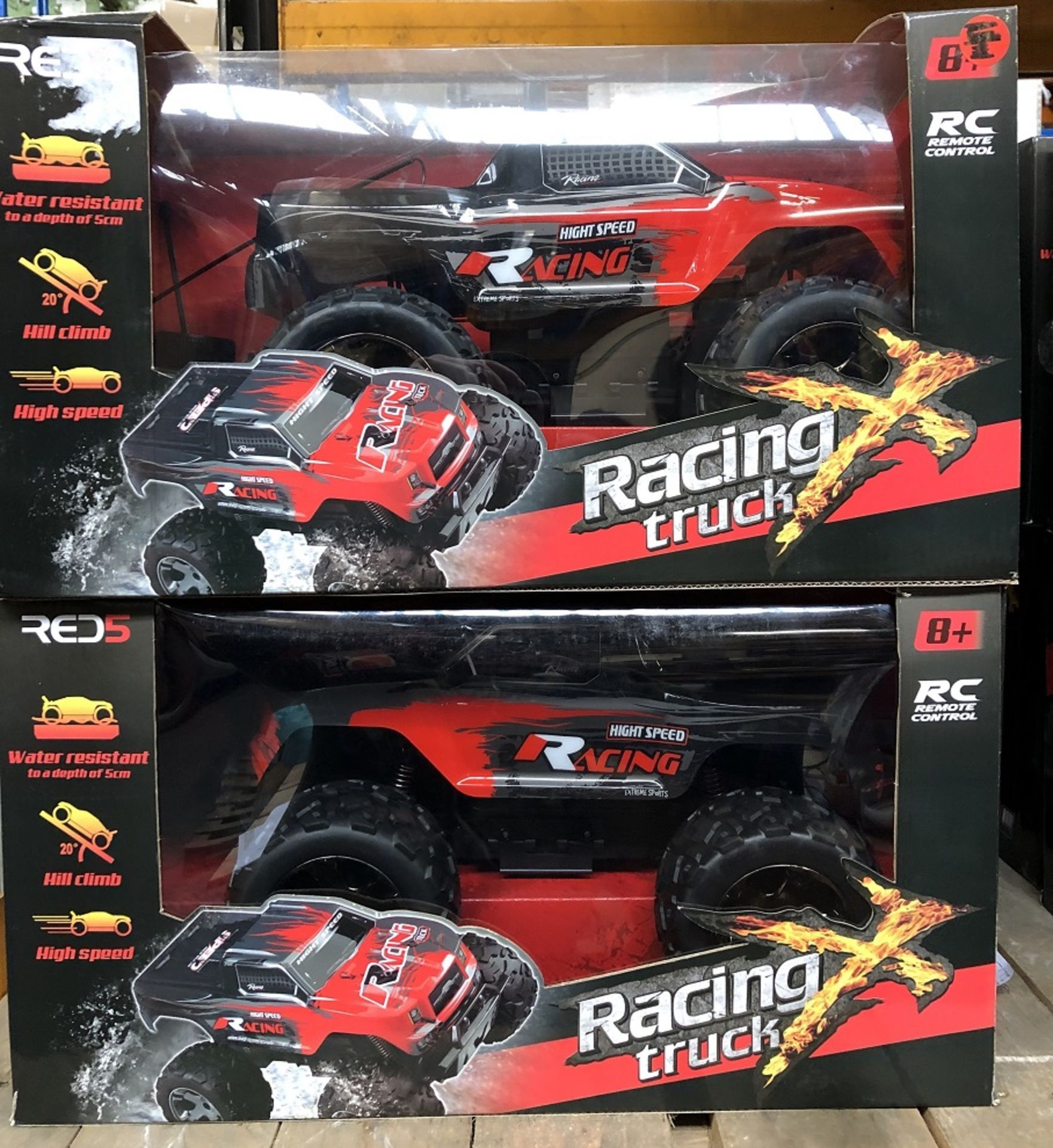 5 x Remote Control Racing Trucks - Red/Black / Rrp £300.00 / Untested Customer Returns