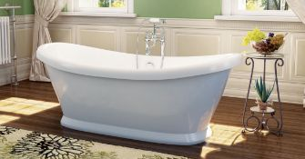 New (A3) Grace 1760x700mm Freestanding 2 Tap Hole Bath With Panel. RRP £1,475.96. Featuring A ...