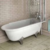 New (A5) Traditional Freestanding Shower Bath - 1500 x 750mm. Comes Complete With Chrome Ball ...