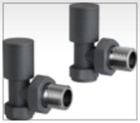 New & Boxed 15 mm Standard Connection Round Angled Anthracite Radiator Valves. Ra03A. Compli...