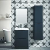 New (A28) Bella 600mm Vanity Unit And Basin Floor Standing Matt Grey. RRP £790.00. Comes Compl...