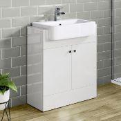 NEW (AA108) 660mm Harper Gloss White Sink Vanity Unit - Floor Standing. Rrp £749.99.Comes C...