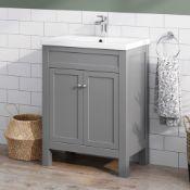 New & Boxed (PC26) 600mm Melbourne Earl Grey Double Door Vanity Unit - Floor Standing. Rrp £7...
