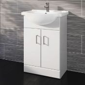NEW (PC108) 550x300mm Quartz Gloss White Built In Basin Cabinet.Comes complete with basin.RRP ?...