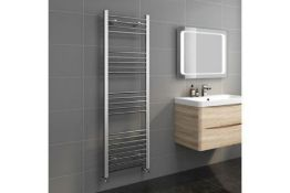 New & Boxed 1600x500mm - 20mm Tubes - Chrome Heated Straight Rail Ladder Towel Radiator. Ns1...