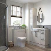 NEW (Q106) Alba 500mm 2 Door Full Depth Base Unit - Light Grey Gloss. Soft close fittings D...