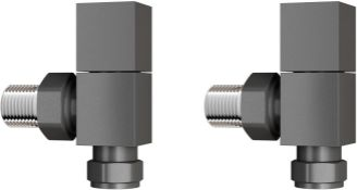 15 mm Standard Connection Square Angled Anthracite Radiator Valves. Ra03A. Complies With Bs27...