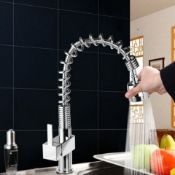 New Maddie Brushed Chrome Monobloc Kitchen Tap Swivel Pull Out Spray Mixer. ...