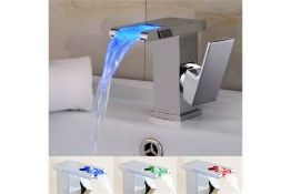 New Led Waterfall Bathroom Basin Mixer Tap. RRP £229.99.Easy To Install And Clean. All Coppe...