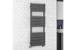 New & Boxed 1200 x 450 Anthracite Flat Panel Heated Towel Rail Bathroom Radiator. RRP ... New &