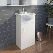 (Rr103) 405mm Ardenno Gloss White Cloakroom Vanity Unit & Basin Set. Clean, Crisp And Versatil...
