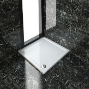New (F74) 1000x1000mm Ultra - Slim Low Profile Stone Resin Square Shower Tray, Shower Trays Off...