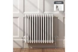 New 600x603mm White Double Panel Horizontal Colosseum Traditional Radiator. Rrp £395.99 Eac...