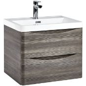 New (E29) Bella 600mm Wall Hung Vanity Unit And Basin Avola Grey. RRP £660. Comes Complete Wit...