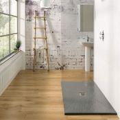 New (F75) 1200x900mm Rectangular Slate Effect Shower Tray In Grey. Manufactured In The Uk From...