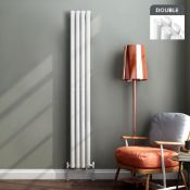 New & Boxed 1800x360mm Gloss White Double Oval Tube Vertical Radiator. RRP £404.99.Made From ...