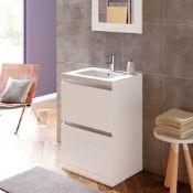 New (E31) Carino 600mm 2 Drawer Floor Standing Vanity Unit White Gloss. RRP £415.00. Comes Com...