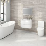 New 700mm Amelie High Gloss White Curved Vanity Unit - Wall Hung. Rrp £749.99.Comes Complete ...