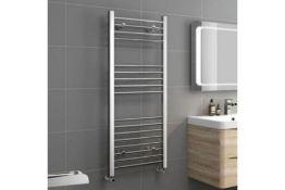 New 1200x500mm - 20mm Tubes - Chrome Heated Straight Rail Ladder Towel Radiator - Natasha.RRP ?...