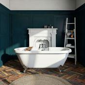 New (E1) 1690 x 740 x 620mm Richmond White Roller Top Freestanding Bath With Chrome Ball Feet....