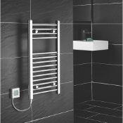 New (R147) Flomasta Flat Thermostatic Towel Radiator 700 x 400mm Chrome 512BTU. RRP £69.99.. C...