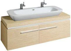 New (S203) Keramag 140 x 40 Cm x 47 Cm Real Oak Veneer Under Sink Cupboard (No Plate) Silk 816...