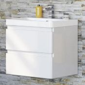 New & Boxed 600mm Denver II Gloss White Built In Basin Drawer Unit - Wall Hung. RRP £849.99.M... New