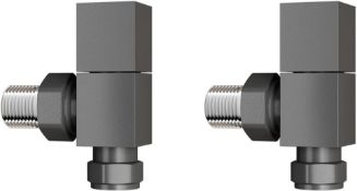 New 15 mm Standard Connection Square Angled Anthracite Radiator Valves. Ra03A. Complies With ... New