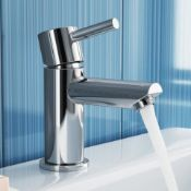 New & Boxed Gladstone Basin Mixer Tap. Tb2013.Chrome Plated Solid Brass Mirror Finish Simple In...
