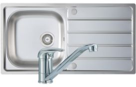 New (Z118) Signature Prima 1.5 Bowl Kitchen Sink With Sink Tap And Waste Kit 965 L x 500 W - St...