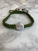 15 x Tiger (Silver Bead Ends) Chinese Zodiac Year Adjustable Green Beaded Bracelet